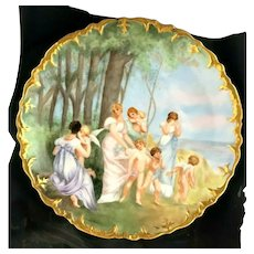 D & Co Limoges France Delinieres Ladies & Cherubs Artist Signed Wall Charger