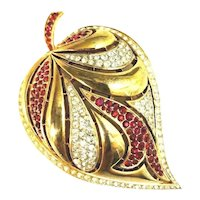 Large Crown Trifari Crystal & Red Rhinestone Inset Domed Leaf Figural Brooch!
