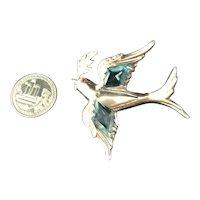 RARE Sterling Silver Figural Dove Bird Brooch Large Aqua Rhinestones 1940's