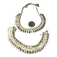 Shimmering Unusual Hattie Carnegie Crystal Disc & Rhinestone Bracelet & Necklace