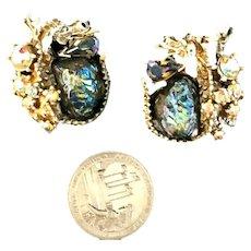 RARE Fantasy Signed HAR Dragon & Iridescent Lava Stone White Enameled Earrings