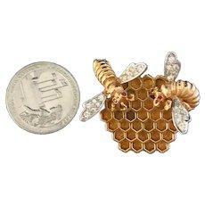 BOUCHER Figural Bees & Honeycomb Pave Rhinestones Rhodium Plated Brooch