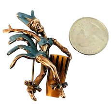 Figural Vintage Enameled Dancer Brooch Bakelite Bongo Drum! Unique
