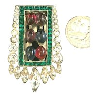 "Exquisite Art Deco Poured Glass Cabochon & Rhinestone ""Jeweled"" Dress Clip"