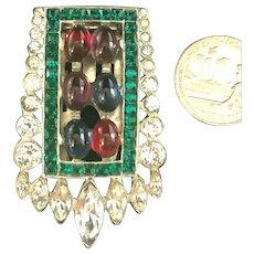 "Exquisite Art Deco Poured Glass Cabochon & Rhinestone ""Jeweled"" Dress Clip"