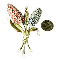 RARE  CORO Rhodium Plated Enameled Figural Hyacinth Brooch Rhinestone Accents