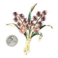 Spectacular Vintage Enameled Pink Rhinestone Hyacinth Flowers Figural Brooch