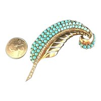 RARE BOUCHER Phrygian Cap Faux Turquoise Bead Sterling Silver Vermeil Brooch