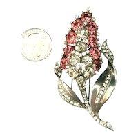 RARE Figural Hyacinth Pink & Crystal Rhinestone Embedded Fur Pin Brooch