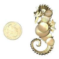 Vintage Boucher Figural Sea Horse Seahorse Brooch MOP Discs Gold Tone Metal