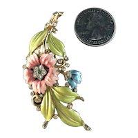 Crown Trifari Alfred Philippe Enameled Flower & Leaf Rhinestone Fur Pin Brooch