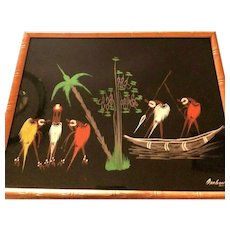 Mid-Century Modern Original Framed African Ethnic Artist Amboulou Painting
