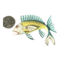 1940's Jose Rodriguez RARE Enameled Large Figural Fish Brooch Rhinestones