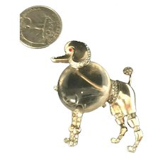 "RARE Alfred Philippe Crown Trifari ""Big Poodle"" Jelly Belly Sterling Brooch"