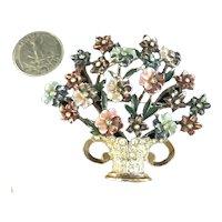 Dimensional CORO Vintage Enameled Flower Bouquet & Rhinestone Pot Brooch