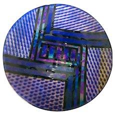 "Huge Iridescent Blue & Black Geometric Artist Signed Dated Art Glass Charger 17"""
