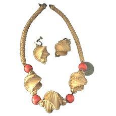 RARE Miriam Haskell Straw Necklace & Earring Set Bright Orange Beads