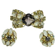 HOBE Vintage Wide Elaborate Cuff Bracelet & Earrings Givre & Iridescent Stones