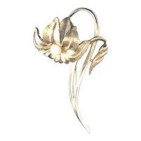 Boucher Vintage Delicate Nouveau Style Figural Flower Brooch Faux Pearl