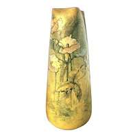 Antique French Clement Massier Art Pottery Morning Glory Floral Polychrome Vase