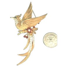 Exceptional Large Vintage Boucher Figural Flying Bird Brooch Rhinestone Flowers