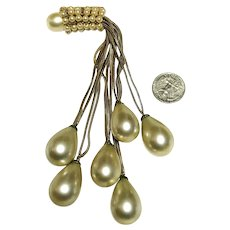 Luscious Unusual LONG Dangle Tear Drop Faux Pearl Vintage Probably French Brooch