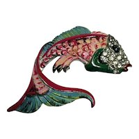 Exceptional CORO Signed Enameled & Rhinestone Figural Large Fish Fur Pin Brooch
