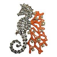 Vintage Kenneth Lane Figural Large Rhinestone Seahorse & Enameled Coral Brooch