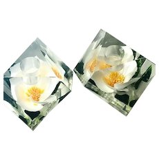 Vintage Cube Lucite Embedded Magnolia Flower Gorgeous Candle Holders Pair