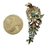 "Unusual Enameled & ""Jeweled"" Dimensional Fur Pin Brooch"