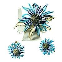 RARE Coro Craft Enameled Dimensional Figural Spider Mum Flower Brooch & Earrings