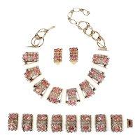 Superb Vintage Pink & Blue Rhinestone Lucite Tube Bracelet, Necklace & Earrings