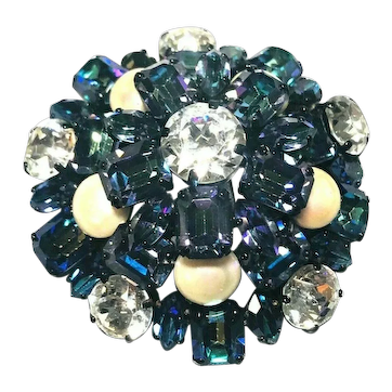 DIVINE Christian Dior Iridescent Watermelon Stones, Faux Pearl Domed Brooch 1958