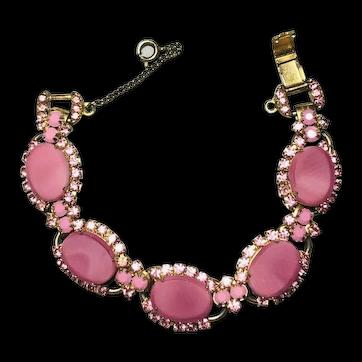 Juliana D&E Pink Opaque & Rhinestone Inset 5 Link Bracelet! Gorgeous!