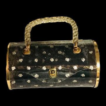 Lucite Black Lace Cylinder Tube Vintage 50's Purse Handbag Signed Majestic