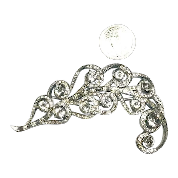 Huge Signed Boucher Figural Rhinestone Encrusted Feather Brooch SPECTACULAR