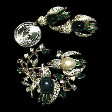 Coro Craft Figural Double Bird Brooch & Earring Set Glass Cabochons, Rhinestones