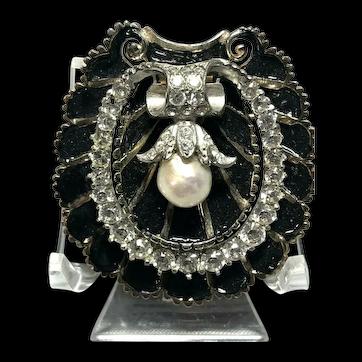 R. DeRosa Signed Enameled & Crystal Rhinestone Inset Shell Figural Brooch