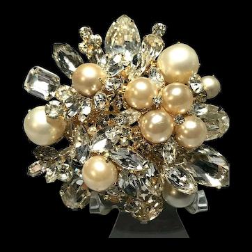 "Brilliant VOGUE Vintage HUGE Domed Faux Pearl & Rhinestone 3 1/4"" Brooch"