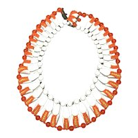 "Rare Miriam Haskell Signed Beaded ""Corn"" Wide Collar Acrylic Bib Necklace"