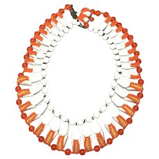 "Rare Miriam Haskell Signed Beaded ""Corn"" Wide Collar Acrylic Bib Necklace"
