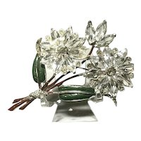 Stunning 1940's Unsgnd. CORO Large Crystal Inset Enameled Double Flower Brooch