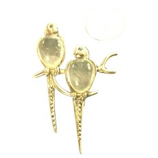 RARE Vintage Sterling Silver Jelly Belly Parrots Figural Brooch