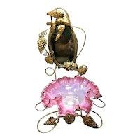 Palais Royale Antique Gilt Grape & Hummingbird Vanity Mirror & Opalescent Bowl