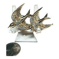 Swallow Birds Figural Coro Duette 1798807 Pat Rhinestone Inset Brooch