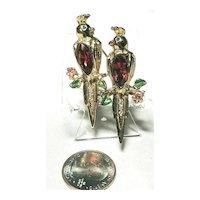 Rare Coro Duette Cockatoo Birds Figural Enameled Adolph Katz Brooch