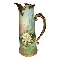 Museum Quality Waterlily Limoges France Pouyat Tankard Stouffer Painted Signed Samuel Heap