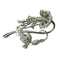 """Unsigned Vintage Fabulous """"Weeping"""" Rhinestone Encrusted Figural Flower Brooch Condition:-- """"Excellent vintage condition with some wear to"""