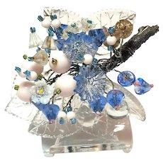 Superb Early Miriam Haskell (Unsgnd) Layered Glass Leaves Flower Bouquet Brooch