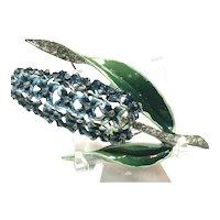RARE CORO Enameled Blue Hyacinth Rhinestone Highlighted Figural Flower Pin